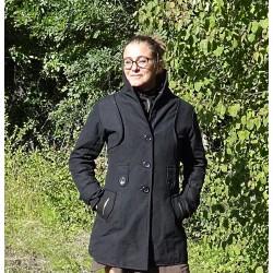 Manteau noir en coton -...