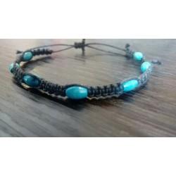 Bracelet bleu coton et bois
