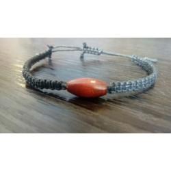 Bracelet noir coton et bois